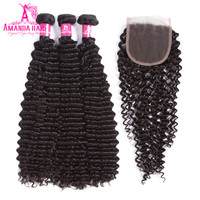 Amanda Brazilian Kinky Curly Hair 3 Bundles With Closure Natural Color Remy Hair 4 Pcs Lot