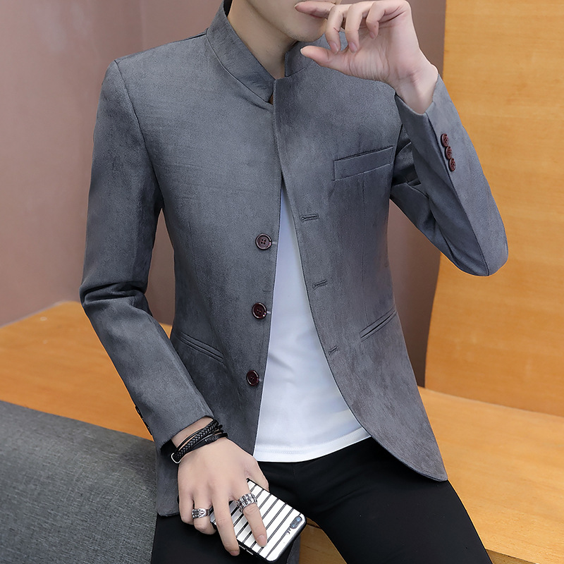 Fall 2019 Leisure Collar Blazer Men's Pure Color Cultivate One's Morality Leisure Blazer
