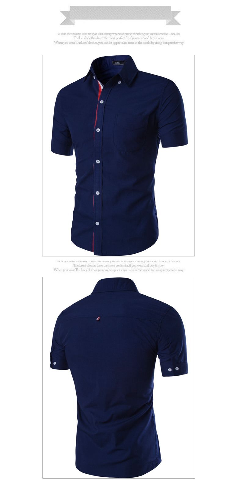 Men Shirt Short Sleeve Designer Brand Male  Shirts Casual Slim Fit