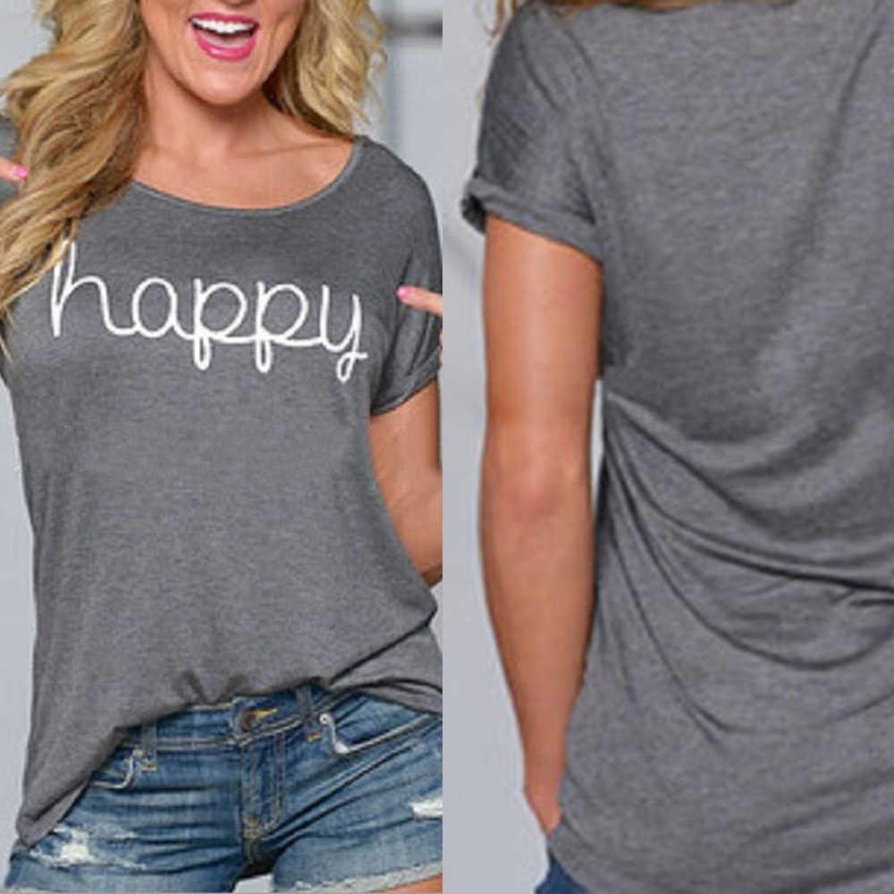 HAPPY letter Европейская и американская мода простая футболка с короткими рукавами Повседневная Блузка с круглым вырезом и принтом свободная футболка