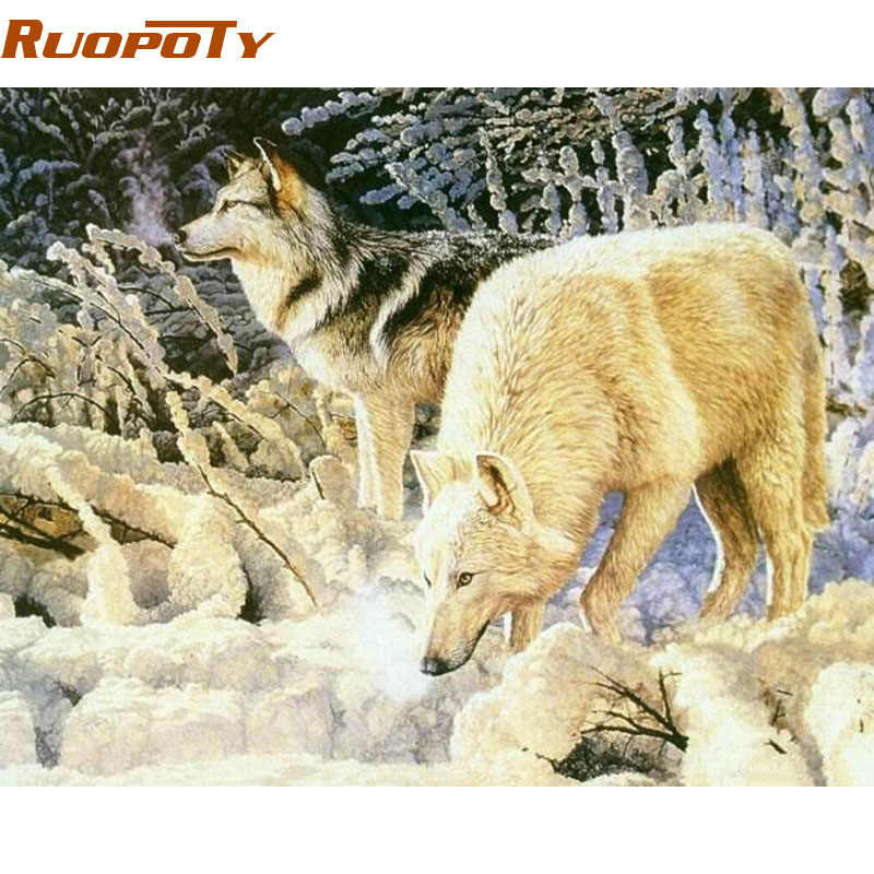 RUOPOTY diy frame Wolf DIY Painting By Numbers Kit Acrylic Modern Wall Art Picture For Home Decor Calligraphy Painting  40x50