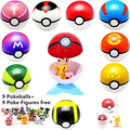 9pcs 7cm Pokeball +9pcs Pikechu ABS Figures Japanese Hot Anime Poke Ball Pokeball Toys Cosplay Collections Gifts #E