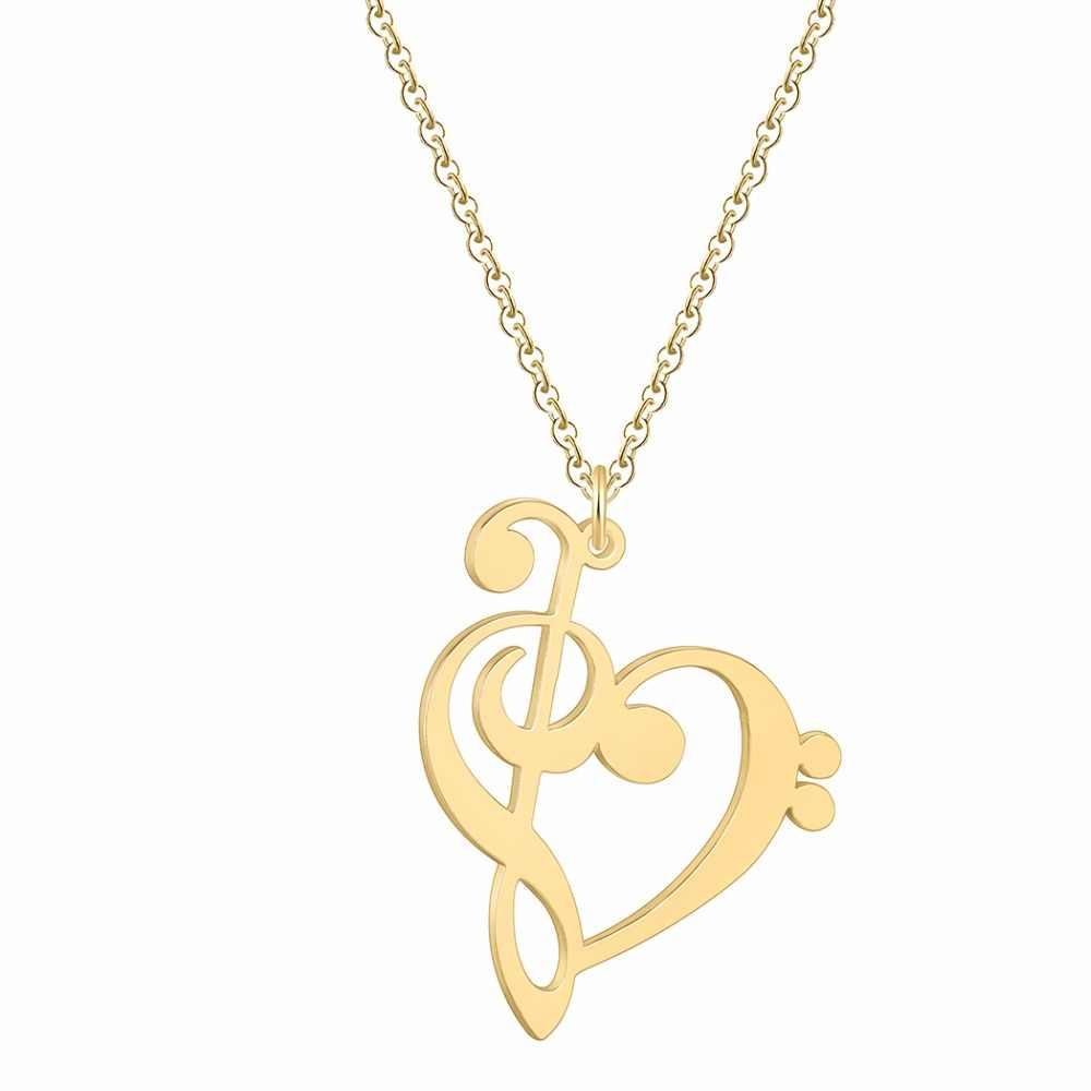 Simple Music Note Necklace Women Heart of Treble and Bass Clef Pendant Infinity Love Heart Necklaces Stainless Steel Jewelry