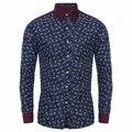 Рубашка Homme 2016 Мужская Мода Рубашки Вскользь Напечатаны Pacthwork Платье рубашка С Длинным Рукавом Slim Fit Бизнес Мужская Рубашка Плюс размер