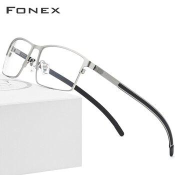 539db5b9b7 Gafas de aleación de titanio Marco de gafas ópticas hombres ultraligero  cuadrado miopía prescripción 2019 hombres Metal completo sin tornillos gafas