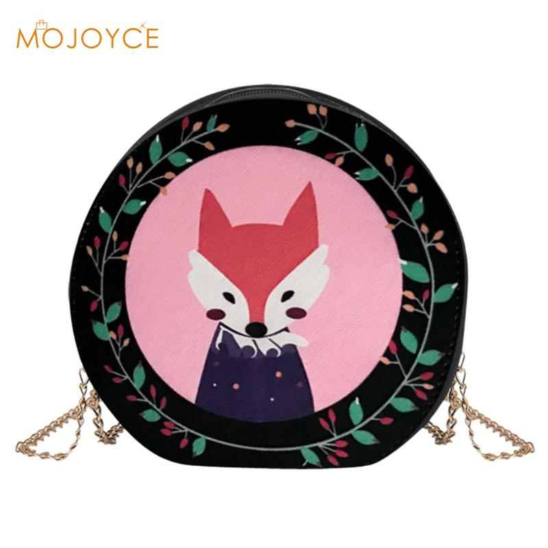 Female Cartoon Printed Shoulder Bag Fashion Round Zipper Shoulder Bags Girl Casual Holiday PU Leather Shopping Messenger Bag New
