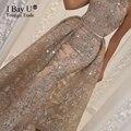 Árabe Vestidos de Niña Glitter Lentejuelas Sirena Vestidos de Noche Largo Tren Desmontable Vestido de Noche Gatsby Vestido Occidental Vestido de Árabe