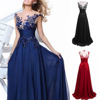 Meihuida Women Vintage Long Dress Fashion Lace Chiffon Formal Ball Gown Evening Party Dress Sleeveless Empire Waist Dress