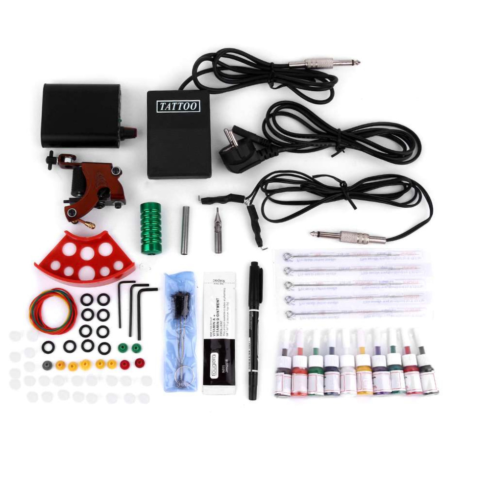 New Complete Tattoo Kits Professional Gun Machine Power Pedal 10 Color Ink Sets Nutrition Disposable Needle Gripping Tip EU Plug