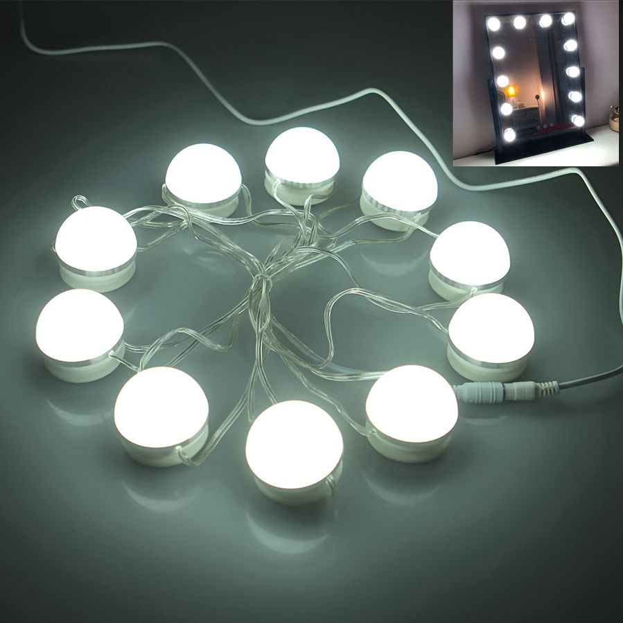 цены EU Plug Makeup Mirror Vanity LED Light Bulbs Kit for Dressing Table with Dimmer and Power Supply Plug in Linkable Without Mirror