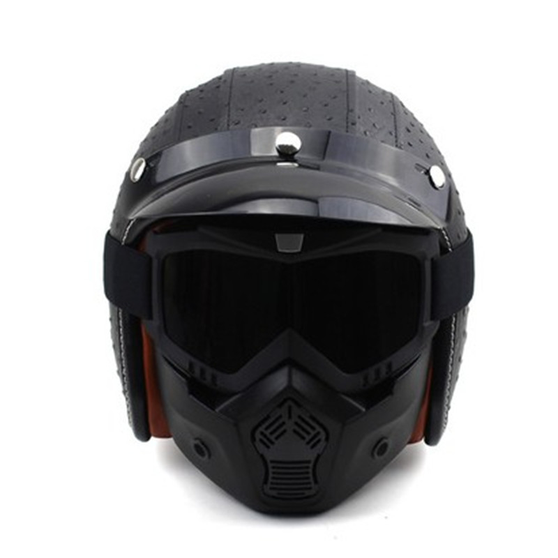 ФОТО New arrival Retro harley helmet Man/women's vintage motorcycle helmet PU Leather scooter open face helmet Moto casco