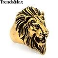 Trendsmax Retro/Vintage Engraved/Carved Roaring Lion King Mens Ring Black Gold Color 316L Stainless Steel Ring  US Sz 8-13 HRM05
