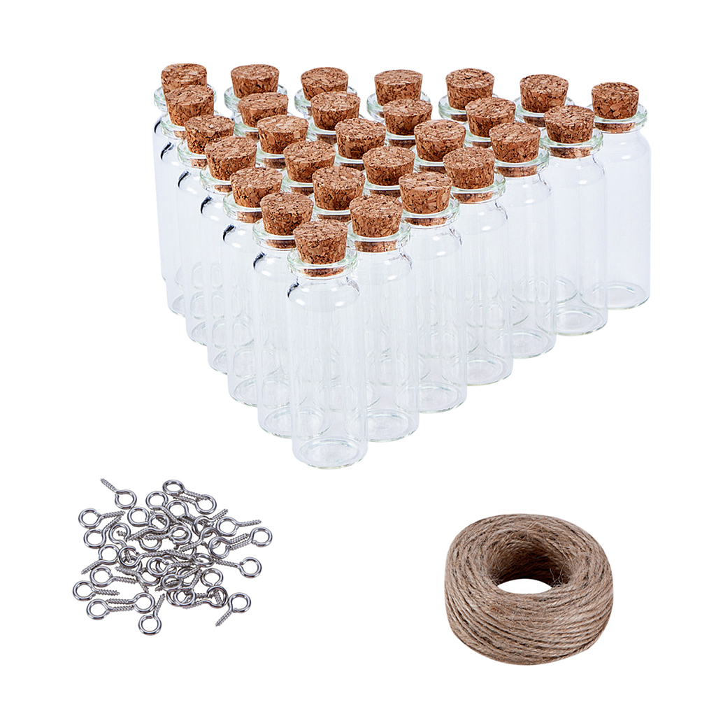 10 Tiny Clear Cylinder Glass Bottle Vial Necklace Pendants Craft Jewelry