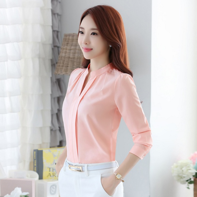 Fashion Women Full Sleeve Casual Chiffon Formal   Blouse   Tops Female Stand Collar V-Neck Work Wear Solid Color White Office   Shirts
