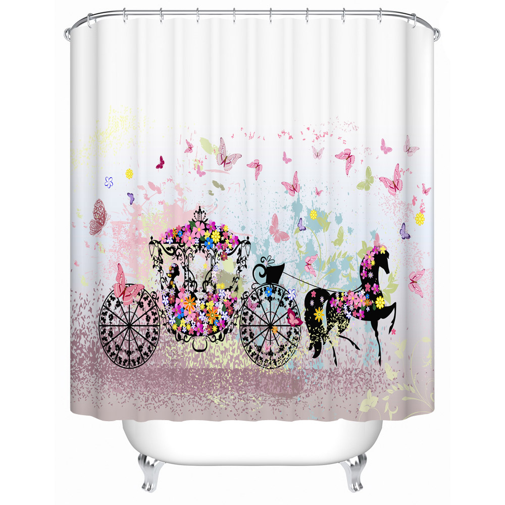 Fabric Polyester Butterfly Shower Curtain Waterproof Bath Curtain Anti Mold Cool Art Decor For