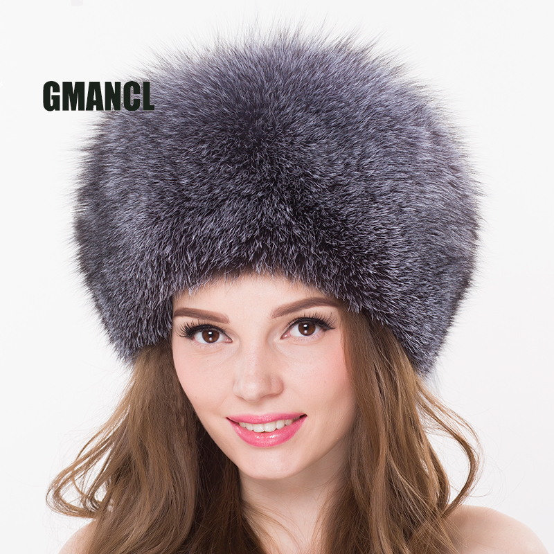 7f1c2125e7943 GMANCL Real Blue Fox Fur Hat With Fox Tail Warm Ears Unisex Russian Cap  Elastic Natural Color Casual Genuine Women Men Beanies