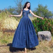 Новые модные женские винтажные хлопковые джинсовые длинные платья макси на бретелях без рукавов весна и осень великолепное платье S-L