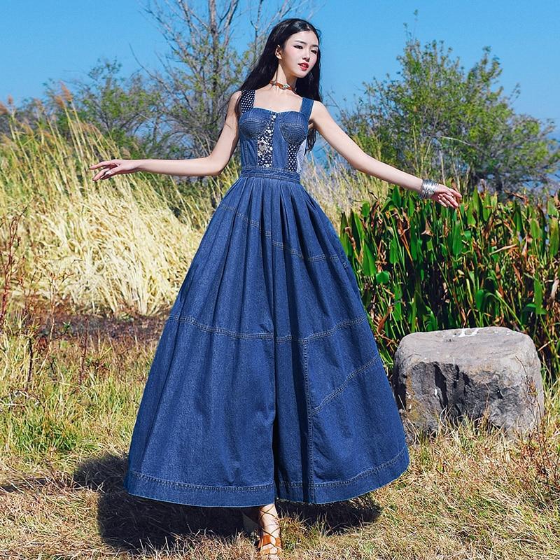 fad10ead16 Denim Dress Women 2018 New Sweet Summer Fashion Shoulder Strap Maxi Long  Jeans Dress Girls Student