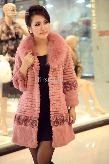 2011 New Ladies Fashion Rabbit Fur Grow Coat / Fur Coat With Fur Collar 10 Color