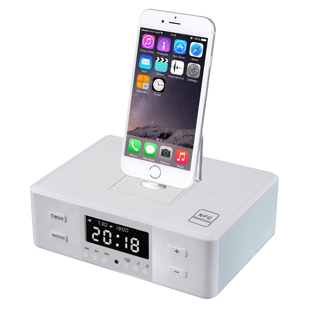 2016 nfc bluetooth speaker charging docking station for iphone and android with fm radio alarm ...