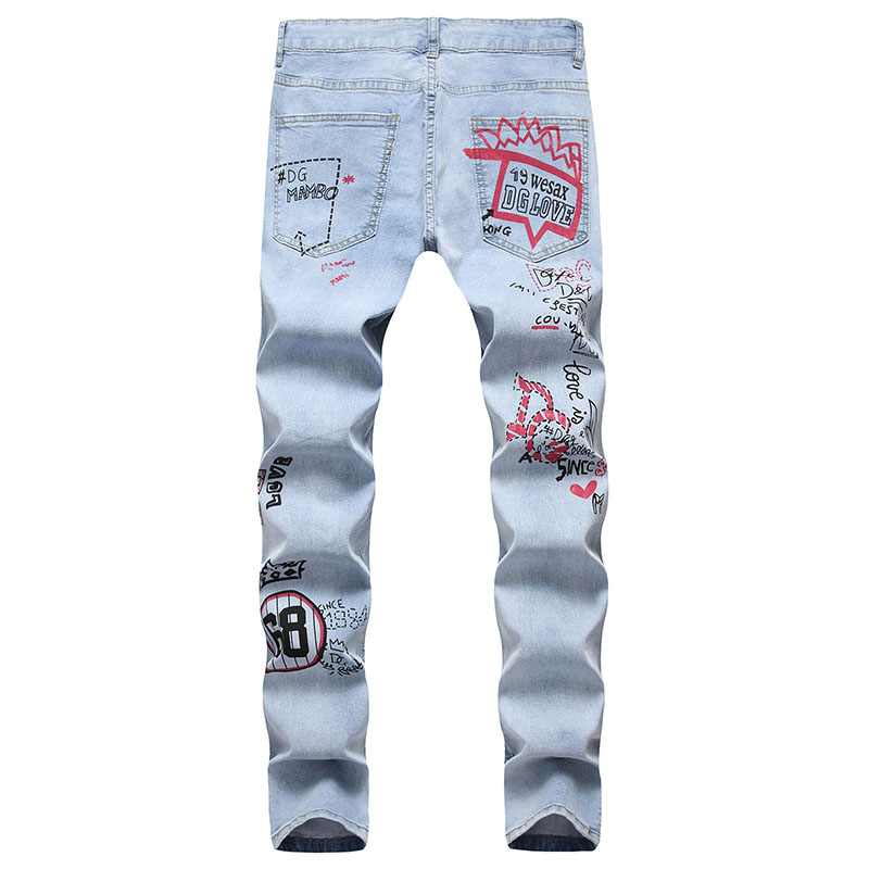 Mcikkny Men\`s Ripped Hip Hop Jean Pants Fashion Slim Fit Stretch Denim Trousers For Male Straight Size 29-38 (4)