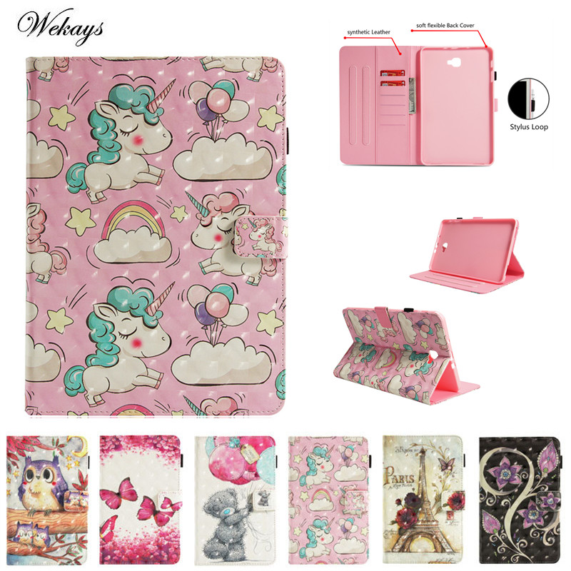 3D Cute Cartoon Unicorn Leather Cover Case For Samsung Galaxy Tab A6 A 6 2016 10.1 T585 T580 SM-T585 Tablet Case Coque Funda