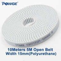 Powge 10メートルpu白htd 5メートル開くタイミングベルト5メートルの15ミリメートル幅15ミリメートルポリウレタン鋼アーク歯htd5mタイミング同期プーリー