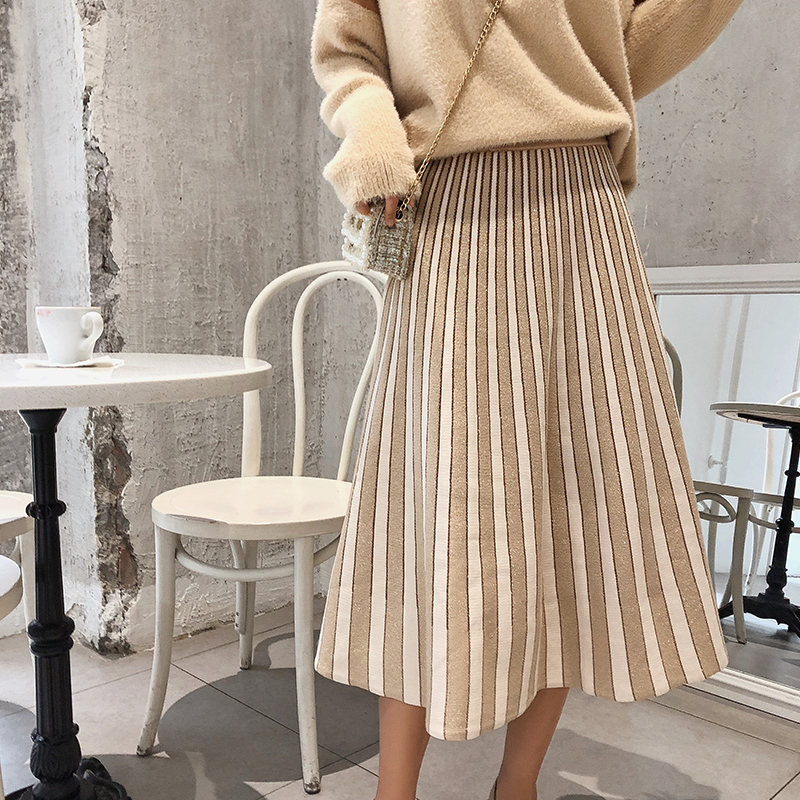 Mishow Knitted Skirts Female 2018 Mid Calf Solid Mid Waist Casual Elastic Ladies A Line Skirt MX18D1868
