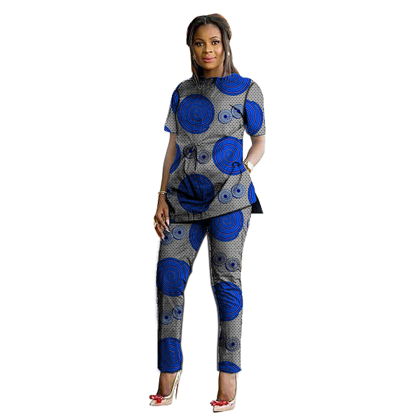 Femmes t-shirts vêtements africains ensembles femmes imprimer hauts + pantalon ensemble mode impression Costume t-shirt + pantalon afrique femmes vêtements