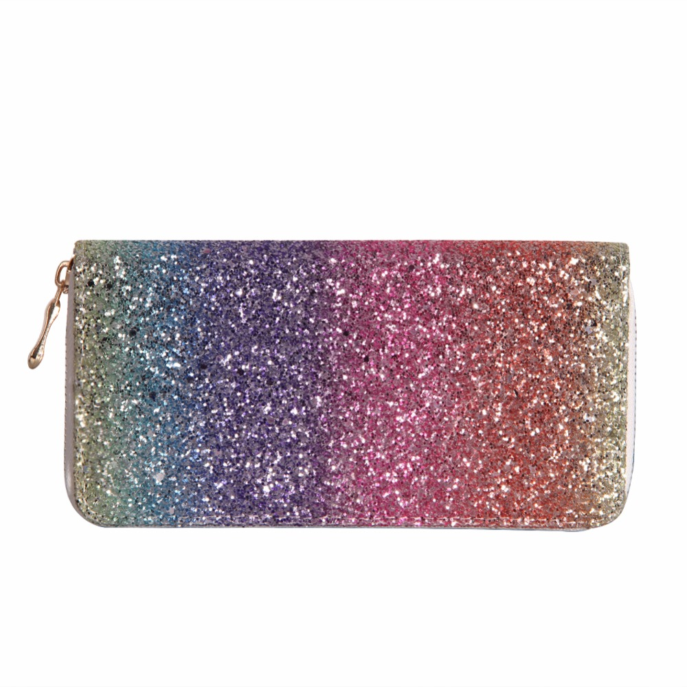 Luxury Women Long Wallet Sparkly Sequined Clutch Glitter Pu Leather Ladies Phone Bag Card Holder Coin Purse Female Wallets carteira feminina women elegant pu leather long bifold purse ladies zipper clutch handbag wallet female phone card holder bag