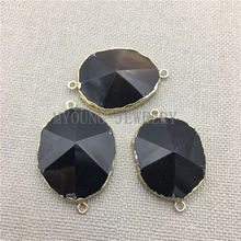 MY0355 Oval Faceted Onyx Slice With Gold  Electroplated Bail Connector,Natural Stone Agates Edges Pendant