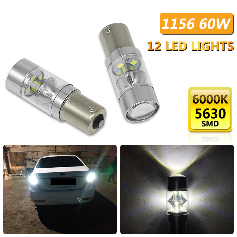 2pcs 1156 60W P21W LED Car Tail <font><b>Bulb</b></font> Brake <font><b>Lights</b></font> Reverse Lamp <font><b>Daytime</b></font> <font><b>Running</b></font> <font><b>Light</b></font> For Peugeot 206 207 307 Toyota Kia <font><b>bmw</b></font> image