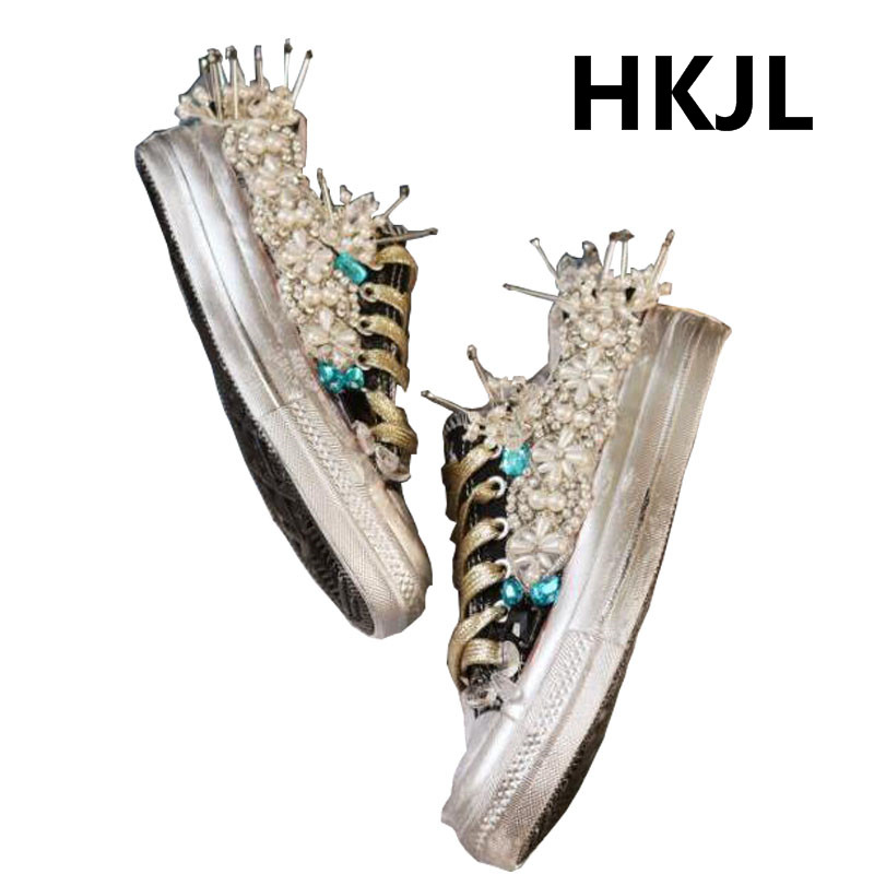 HKJL 2019 สถานียุโรปฤดูใบไม้ร่วง vintage เก่าสกปรกรองเท้าคลาสสิกรองเท้าผ้าใบ heavy กีฬารองเท้าน้ำรองเท้าเจาะ-ใน รองเท้าส้นเตี้ยสตรี จาก รองเท้า บน   2