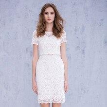 2017 mantel Bateau Günstige White Lace Kurzarm Prom Kleider vestidos de formatura robe de soiree Kurze Abendkleid