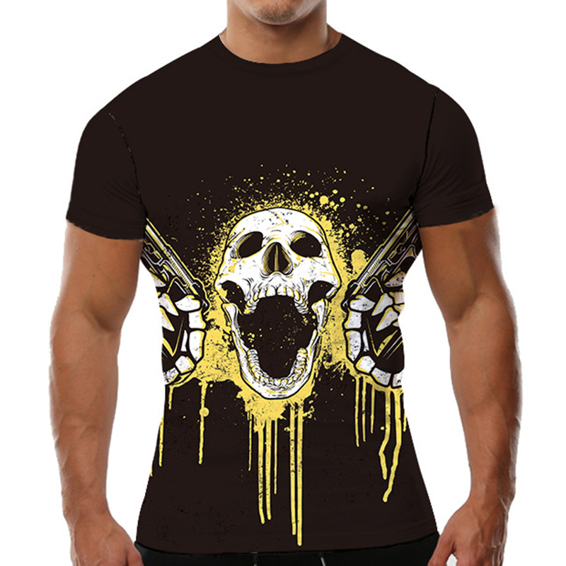 Brand Skull T shirt Guns N Roses Clothes Gun Tops Punk Clothing Gothic Shirts Tshirt Men 3d T shirt Male Tops Slim