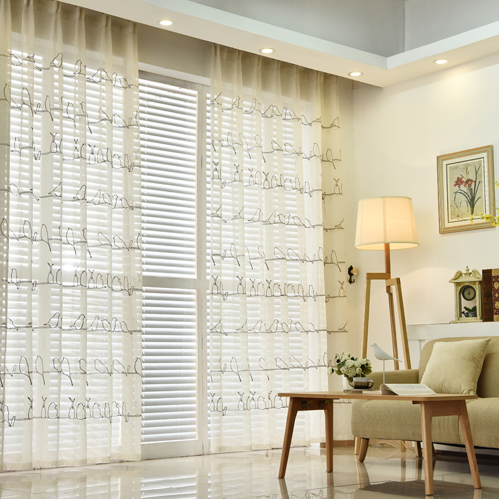 Bird sheer curtains - Designed Embroidered Bird Tulle Curtains For Living Room White Sheer Curtains For Bedroom China