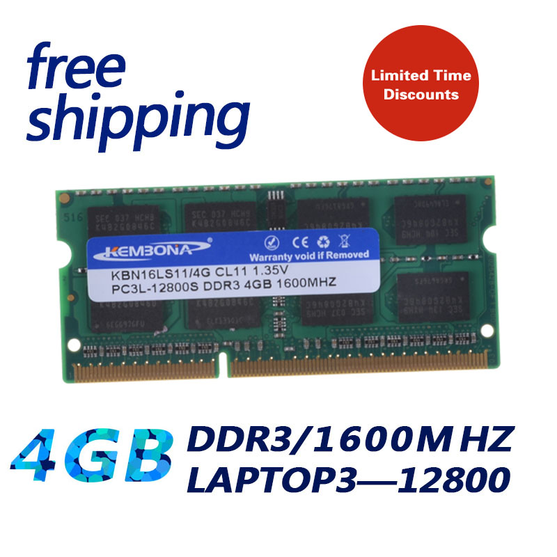 KEMBONA Notebook / Laptop Module Ram Memoria SODIMM For DDR3L 1600 1333 MHz 4 GB / PC3-12800S PC3-10600S Non ECC 204pin 1.35 V