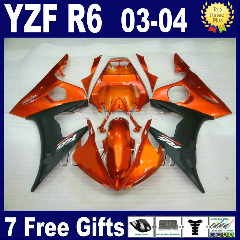 Custom OEM motorcycle fairing kits For Yamaha 03 04 05 YZFR6 orange black plastics 2003 2004 YZF R6  body repair Fairings parts mfs motor motorcycle part front rear brake discs rotor for yamaha yzf r6 2003 2004 2005 yzfr6 03 04 05 gold