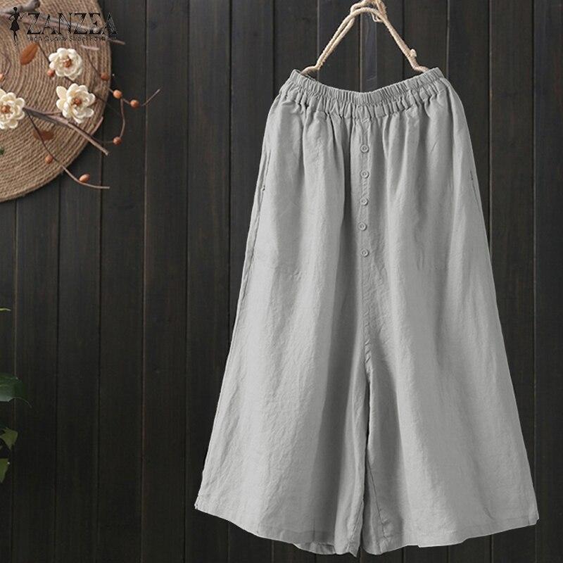 ZENZEA 2018 Summer Pantalon  Women Wide Leg Pants Female Casual Elastic Waist Pant Pockets Vintage Cotton Linen Party Trousers