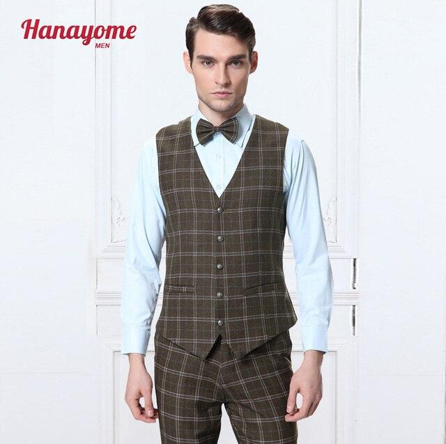 2016 New Formal Suit Vest Men Wool Army green Plaid Waistcoats Men's Slim Fit Wedding Tweed Dress Vests Four Button (Pants+Vest)