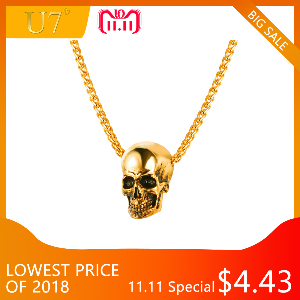 U7 Halloween Jewelry Skull Necklace Stainless Steel Gothic Biker Pendant & Chain For Men/Women Punk Gift Gold/Black Color P1133 цена 2017