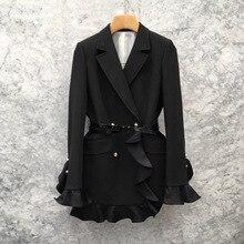 2019 Spring Dress New Korean Version Fashion Lotus Leaf Side Bundle Waist Suit Double Row Buckle High-grade Suit Overcoat Woman