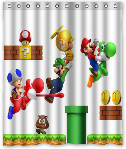 Custom Mario Game Home Living Waterproof Bathroom Decor New Super Bros Wii Art Shower Curtain 150x180cm FREE SHIPPING