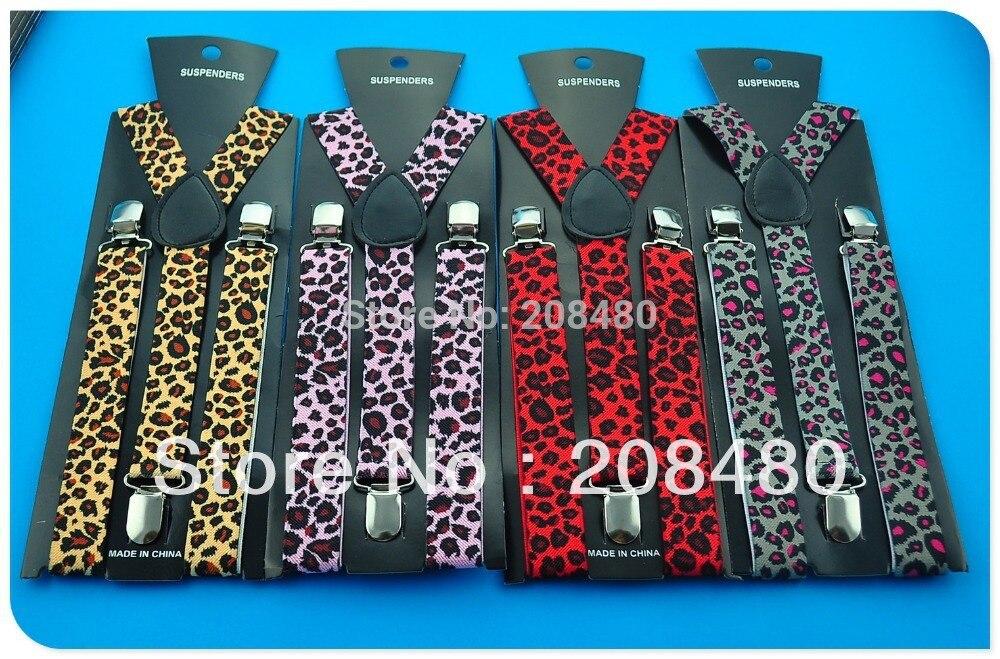 Unisex Adjustable Clip-on Braces Elastic Slim Suspender 1inch 4 Colors Leopard Black Y- Back Suspenders Gallus Wholesale &Retail