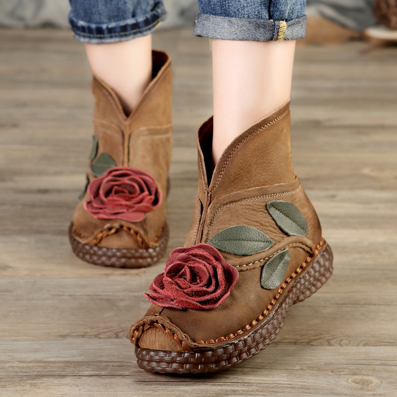 high quality women 2017 winter fashion genuine leather handmade low heel vintage flower shoes short boots motorcycle botas 2678 2018 high quality handmade thick heel women shoes genuine leather women boots martins winter vintage ankle boots botas mujer