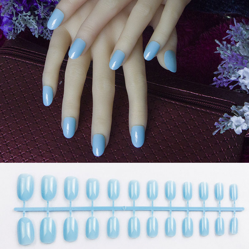 24Pcs New sky blue round oval head Fake nails Short Soft Pink Nude ...