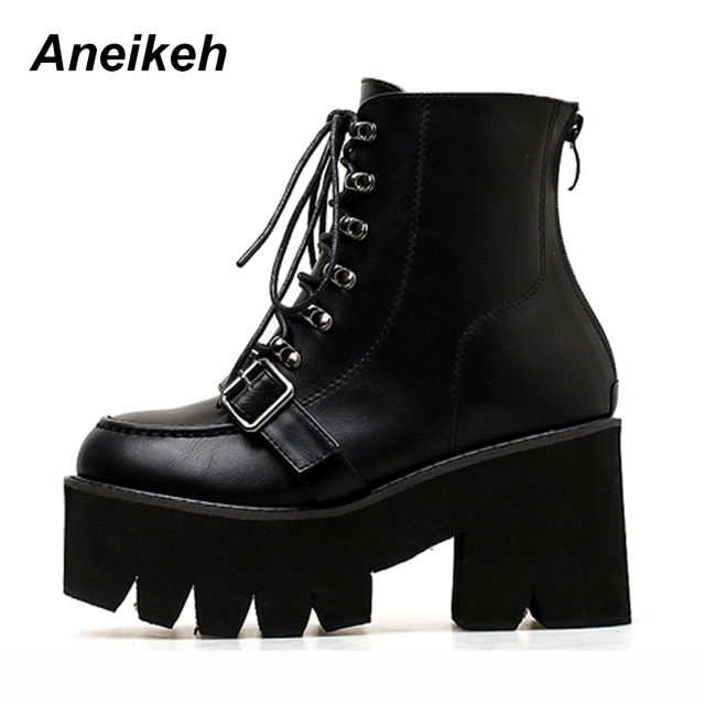 fe72107345b79 Aneikeh Punk Boots Platform Shoes Lace Up Boots 2019 Fashion Thick Heel  Ankle Boots Women High Heels Autumn Winter Shoes