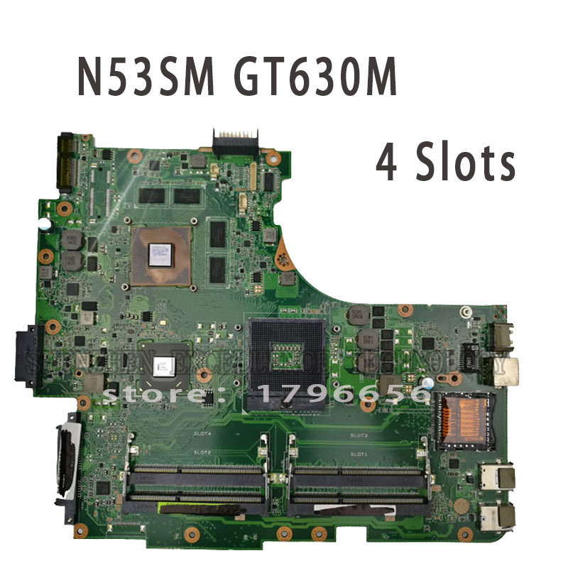 For ASUS N53SM N53SV REV2.0 Original Laptop Motherboard (Mainboard) 2G GT630M 4 RAM Slots Tested Well original new laptop motherboard for asus k52jc rev 2 1 ddr3 n11m ge2 s b1 mainboard
