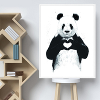 Canvas Painting Home Decor Wall Pictures Animal Panda LOVE Abstract Posters and Prints Art For Living Room