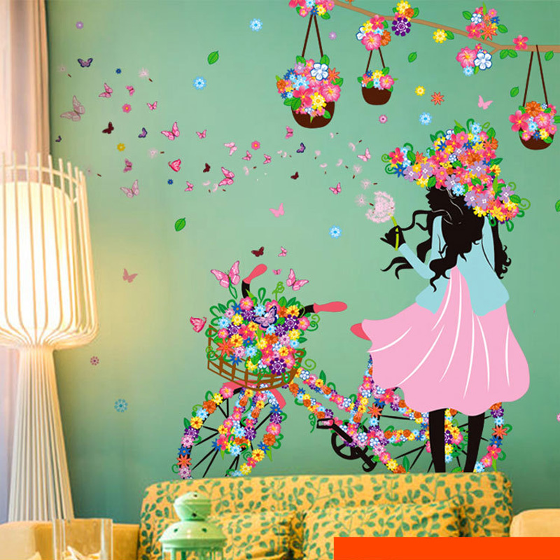 Romantic butterfly flower wall stickers home decor cycling girl removable decal bedroom living Home decor survivor 6